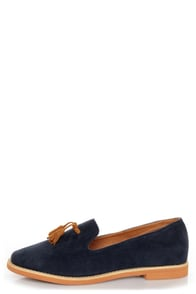 Lisa 02 Navy & Cognac Tassel Smoking Slipper Flats at Lulus.com!