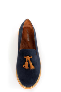 Lisa 02 Navy & Cognac Tassel Smoking Slipper Flats
