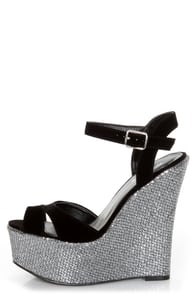 Qupid Kunis 09 Black Velvet and Silver Sparkles Platform Wedges