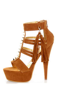 Mona Mia Katia Tan Studded Tassel Platform Heels