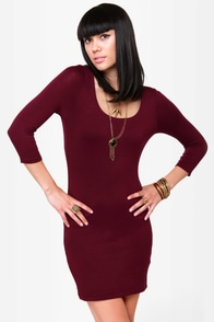 Meet and Greet Burgundy Dress at Lulus.com!