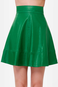 Happily Leather After Green Vegan Leather Skirt at Lulus.com!