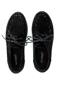 Bamboo Panamera 02 Black Lace-Up Creeper Flats at Lulus.com!