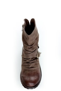 Bamboo Kacy 03 Brown Slouchy Belted Ankle Boots at Lulus.com!