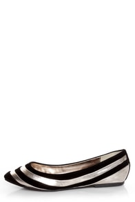 Dollhouse Amuse Black and Silver Striped Pointed Flats