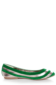 Dollhouse Amuse Green and Silver Striped Pointed Flats at Lulus.com!