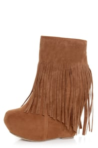 Dollhouse Sheena Chestnut Fringe Wedge Booties
