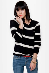 Volcom Lefty Loosey Black Striped Sweater at Lulus.com!