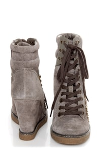 Report Nadja Grey Studded Lace-Up Wedge Sneakers at Lulus.com!