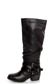 Pink & Pepper Fab Black Belted Motorcycle Boots at Lulus.com!