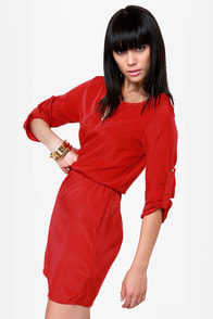 Keeping It Casual Red Dress at Lulus.com!