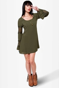 Sleeve It to Me Olive Green Shift Dress at Lulus.com!