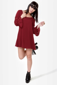 Sleeve It to Me Wine Red Shift Dress at Lulus.com!