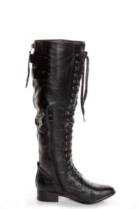 Rocker Black Lace-Up Knee High Boots at Lulus.com!