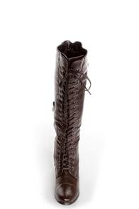 Rocker Brown Lace-Up Knee High Boots at Lulus.com!