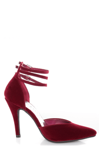 Bliss 15 Burgundy Triple Strap Pointed Heels at Lulus.com!
