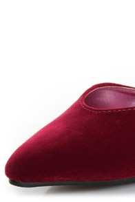 Bliss 15 Burgundy Triple Strap Pointed Heels