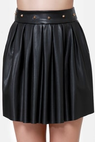 That Girl Studded Black Vegan Leather Skirt at Lulus.com!