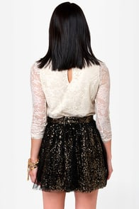 Tulle Intentions Black and Gold Sequin Skirt at Lulus.com!