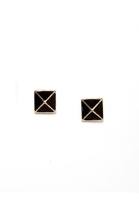 Luxor Charm Black Pyramid Earrings