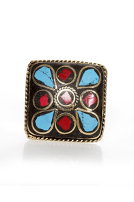 Praising Arizona Red and Turquoise Cocktail Ring