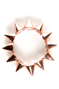 Spike It Like That Rose Gold Spike Bracelet at Lulus.com!