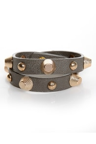 Stud-titles Grey Studded Wrap Bracelet at Lulus.com!