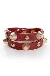 Stud-titles Red Studded Wrap Bracelet