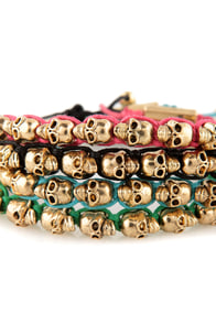 Skull Days Gold and Black Skull Bracelet at Lulus.com!