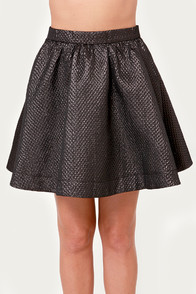 See the Future Metallic Black Skater Skirt at Lulus.com!