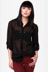 O'Neill Galaxy Black Polka Dot Top at Lulus.com!