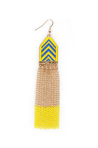Chevron-way Ready Yellow and Blue Dangle Earrings