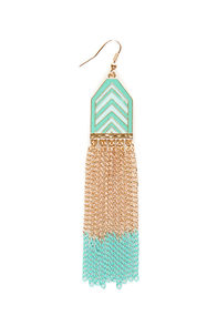 Chevron-way Ready Mint Dangle Earrings at Lulus.com!
