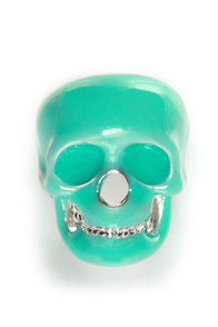 Mad Skulls Teal Skull Ring at Lulus.com!
