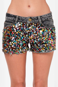 Confetti Cutoff Sequin Denim Shorts at Lulus.com!