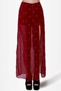 Sainted Love Burgundy Cross Print Maxi Skirt at Lulus.com!