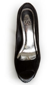 Speed Limit 98 Udon Black Rhinestone Studded Platform Pumps at Lulus.com!