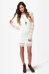 Black Sheep Tasha Ivory Lace Dress at Lulus.com!