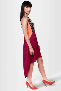 Charleston Charmer Fuchsia Color Block Dress at Lulus.com!