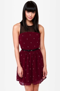A-Cross the Universe Embroidered Burgundy Dress at Lulus.com!