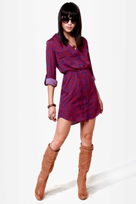 O'Neill Wild Child Red and Blue Print Dress at Lulus.com!