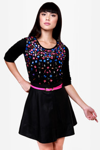 Too Cool For Jewel Black Jeweled Sweater at Lulus.com!