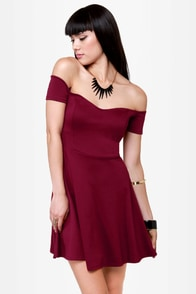 By the Book Wine Red Off-the-Shoulder Dress at Lulus.com!