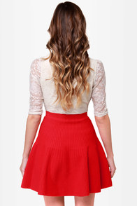 Flare Show Knit Red Skirt at Lulus.com!