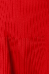 Flare Show Knit Red Skirt