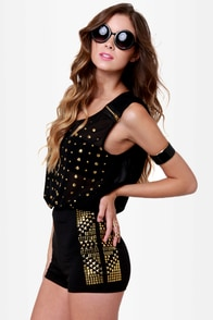 Stud Advisory Studded Black Shorts