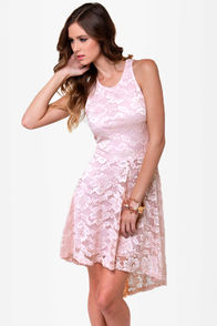 First Anniversary Blush Lace Dress