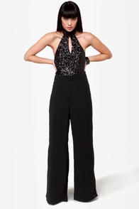 Leave It to Diva Black Sequin Jumpsuit