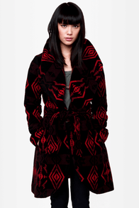 BB Dakota Davida Black Print Coat