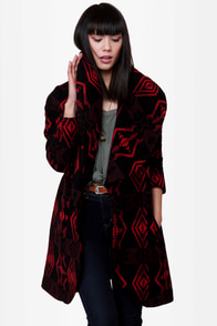 BB Dakota Davida Black Print Coat at Lulus.com!